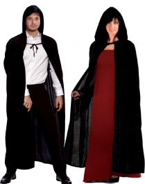 ACCESSORIES/CAPES/Unisex Black Satin Hooded Cape