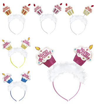 ACCESSORIES/HATS & HEADBANDS/GLITTER HAPPY BIRTHDAY CAKE HEAD BOPPER WITH MARABOU 6 colour
