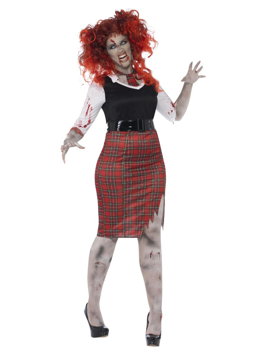 WOMAN/HALLOWEEN/ Curves Zombie School Girl Costume, Black