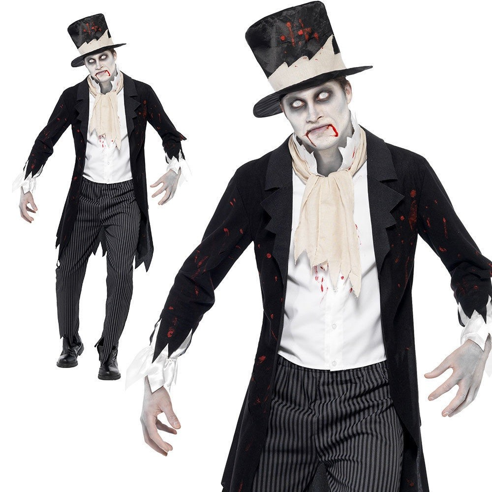 MENS/HALLOWEEN/Till Death Do Us Part Zombie Groom Costume, Black