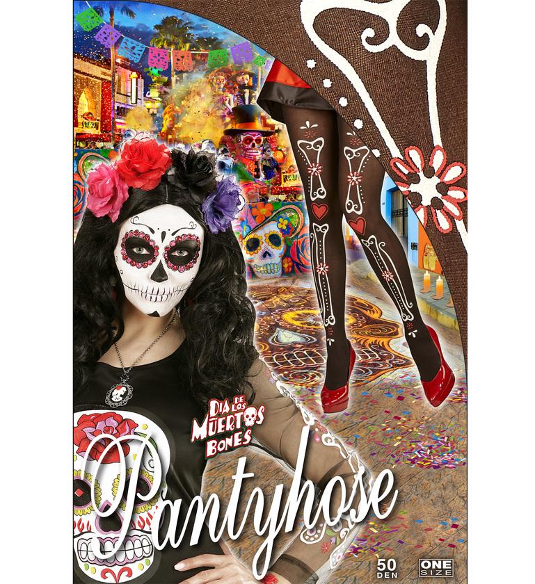 ACCESSORIES/TIGHTS & STOCKINGS/DIA DE LAS MUERTOS BONE BLACK PANTYHOSE
