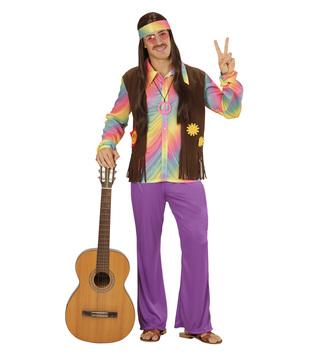 MENS/DECADES/1970'S/FUNKY HIPPIE MAN (shirt w/vest pants headband)