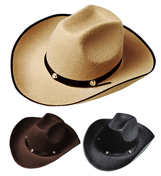ACCESSORIES/HATS & HEADBANDS/ FELT COWBOY HAT W/BOLT - 3 colours