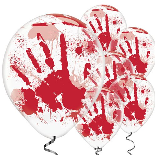 ACCESSORIES/HALLOWEEN/PROPS/PACK OF 6 BLOODY HAND LATEX BALLOONS
