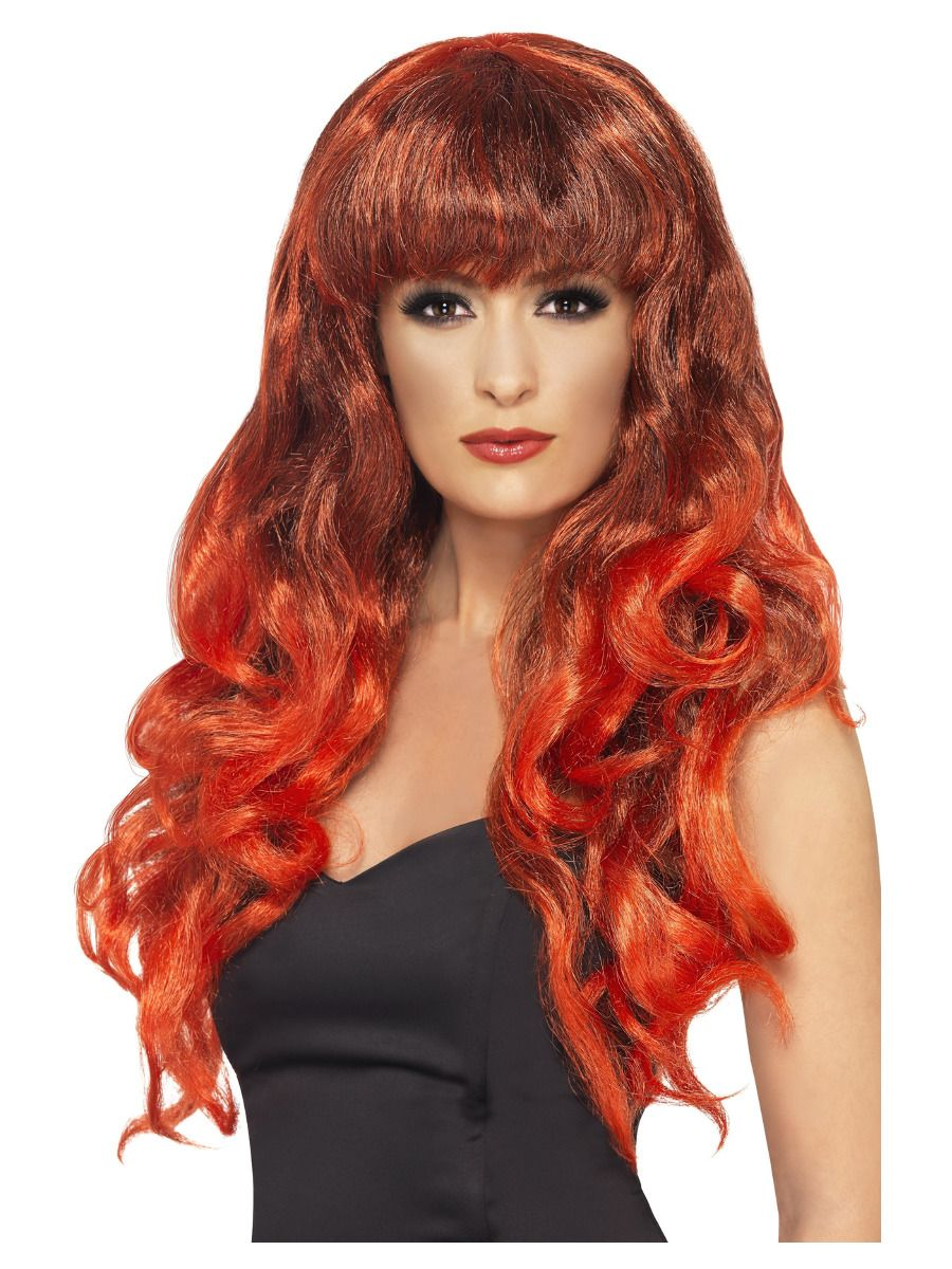 WIG/LONG/Siren Wig, Red & Black