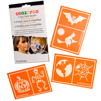 MAKEUP/FACE & BODY PAINTS/FACE PAINT STENCILS REUSABLE HALLOWEEN - Pkt 6
