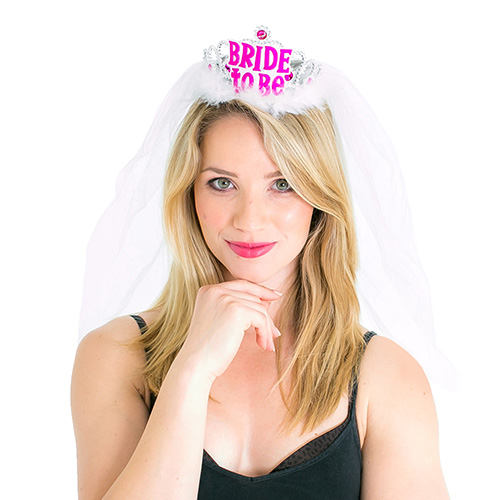 ACCESSORIES/HENS & STAGS/Bride to Be Tiara with Veil, White