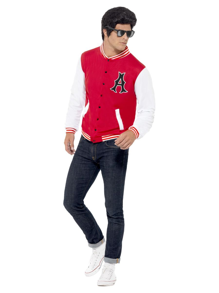 MENS/DECADES/1950'S/50s College Jock Letterman Jacket, Red