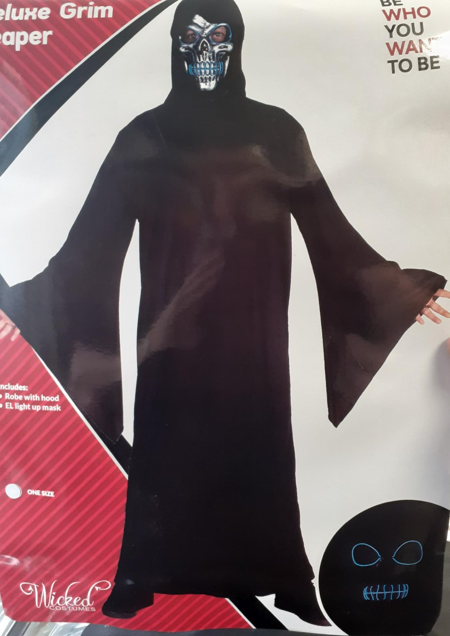 MENS/HALLOWEEN/ Grim Reaper with Blue E.L Skull Mask