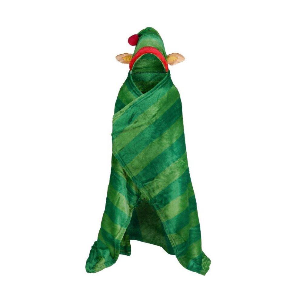 BOYS/CHRISTMAS/Kids ELF Hooded Throw Children Xmas Novelty Wearable Warm Soft Christmas Blanket Share  Kids ELF Hooded Throw