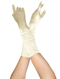 ACCESSORIES/GLOVES&SCARVES/SATIN RUCHED TOP -LONG GLOVES -RED