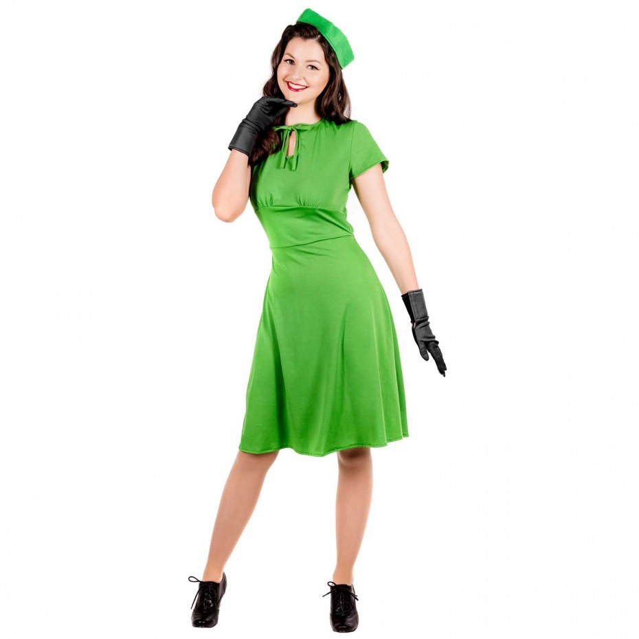 WOMAN/DECADES/1940'S/Adult Dress, Hat & Gloves