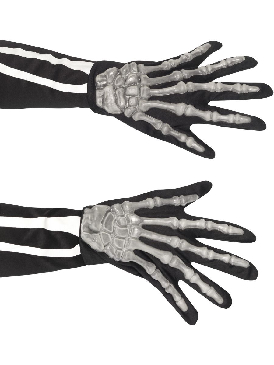 ACCESSORIES/HALLOWEEN/PROPS/Skeleton Gloves, Adult, Black