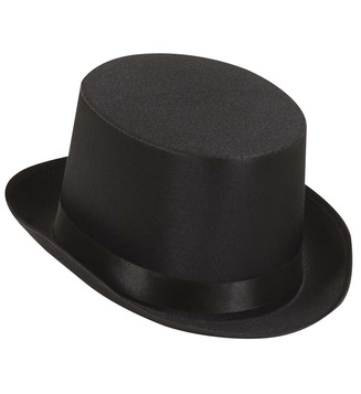 ACCESSORIES/HATS & HEADBANDS/TOP HAT BLACK SATIN