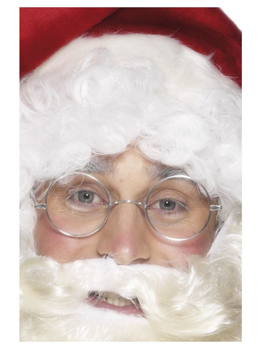 ACCESSORIES/CHRISTMAS/Wire Framed Santa Specs, Silver