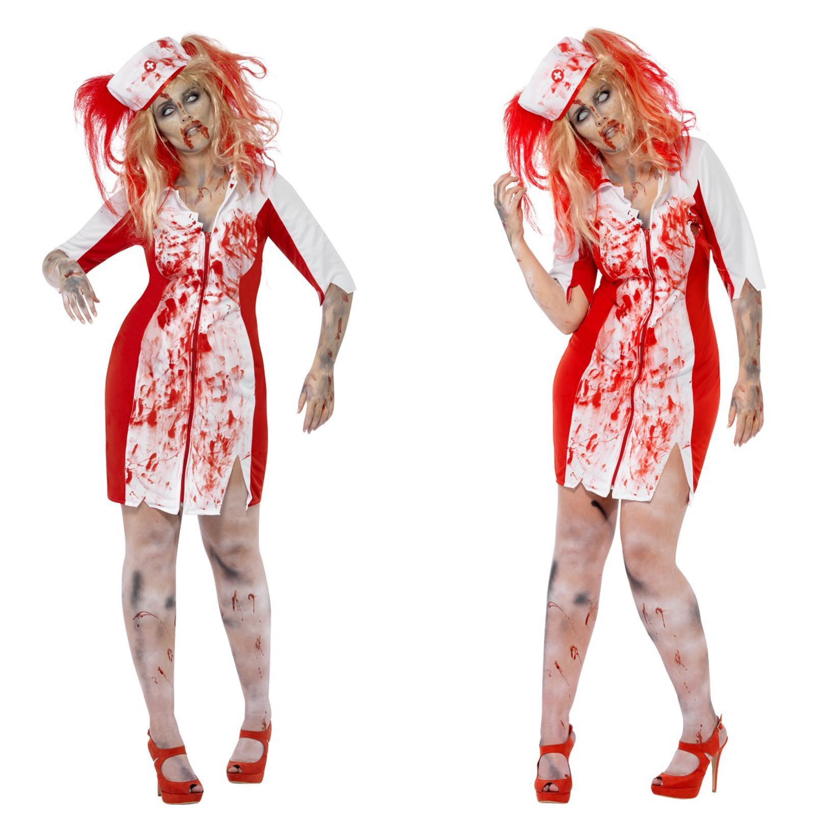 WOMAN/HALLOWEEN/Curves Zombie Nurse Costume, White