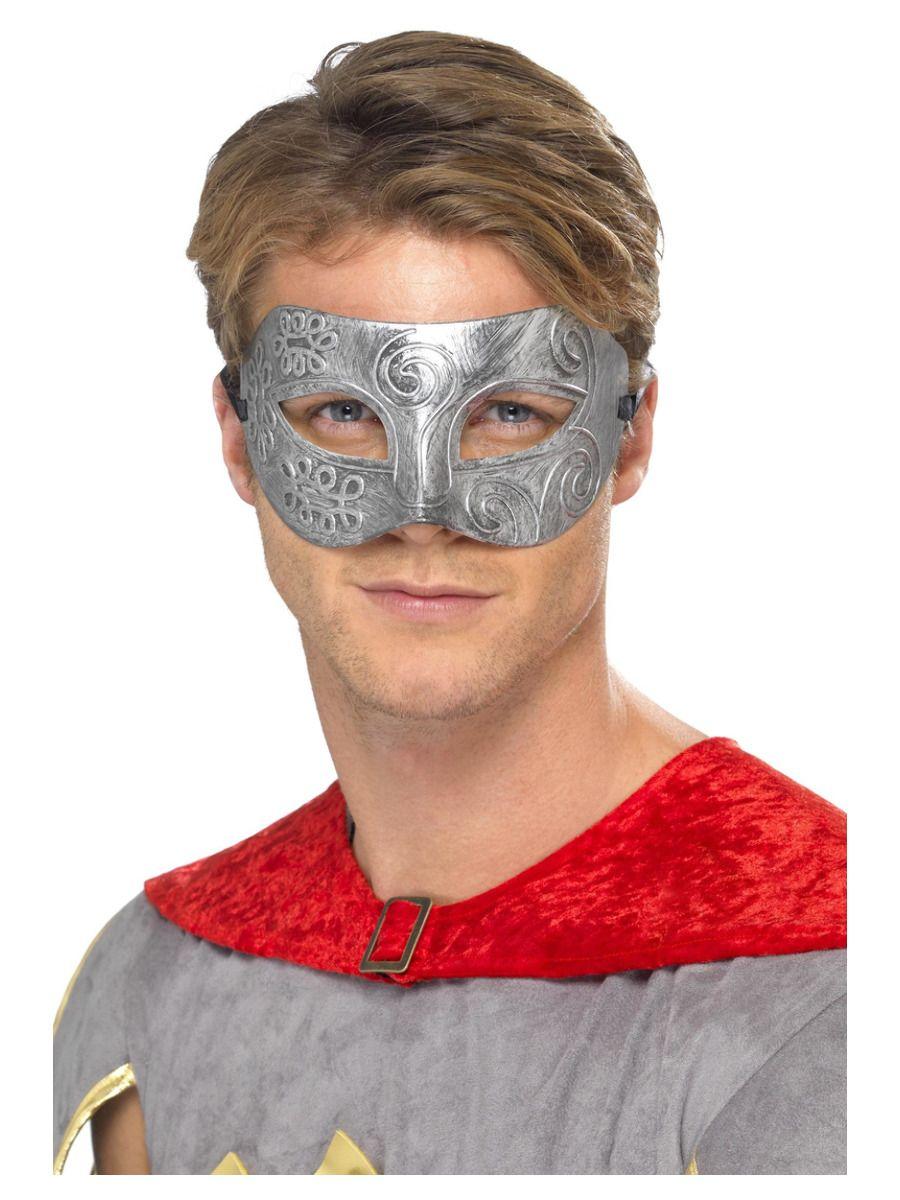 ACCESSORIES/EYE MASKS & MASQUERADE/Metallic Warrior Colombina Eyemask, Silver
