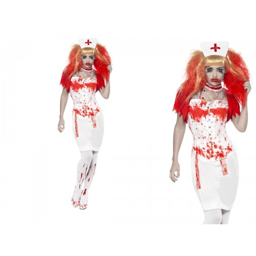 WOMAN/HALLOWEEN/ Blood Drip Nurse Costume, White