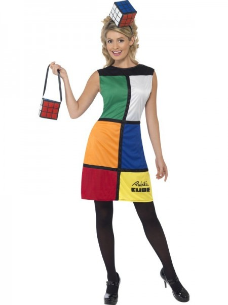 WOMAN/DECADES/1980'S/Rubik's Cube Costume, Multi-Coloured