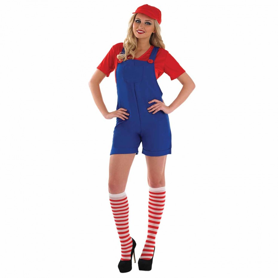 WOMAN/TV & FILM/WOMENS RED PLUMBER COSTUME