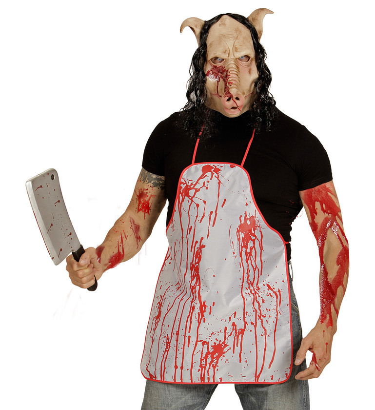 ACCESSORIES/HALLOWEEN/MASKS/BUTCHER SHOP PIG MASK WITH HAIR - FULL HEAD MASK