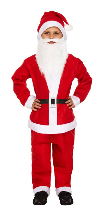 BOYS/CHRISTMAS/ Children's 5pc Santa Claus Costume (Small / 4-6 Years)