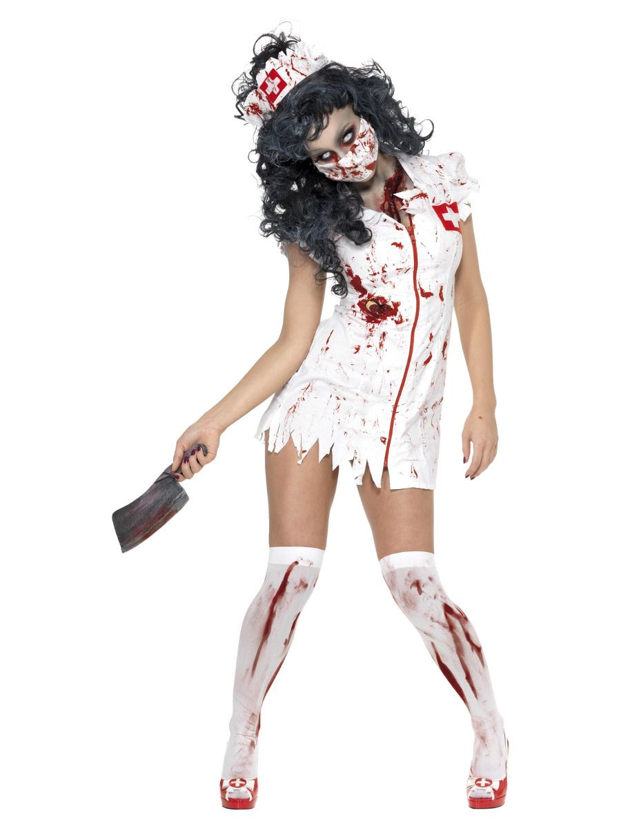 WOMAN/HALLOWEEN/ Zombie Nurse Costume, White
