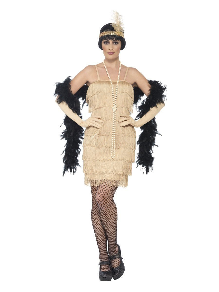 WOMAN/DECADES/1920'S/FLAPPER COSTUME, GOLD, WITH SHORT DRESS