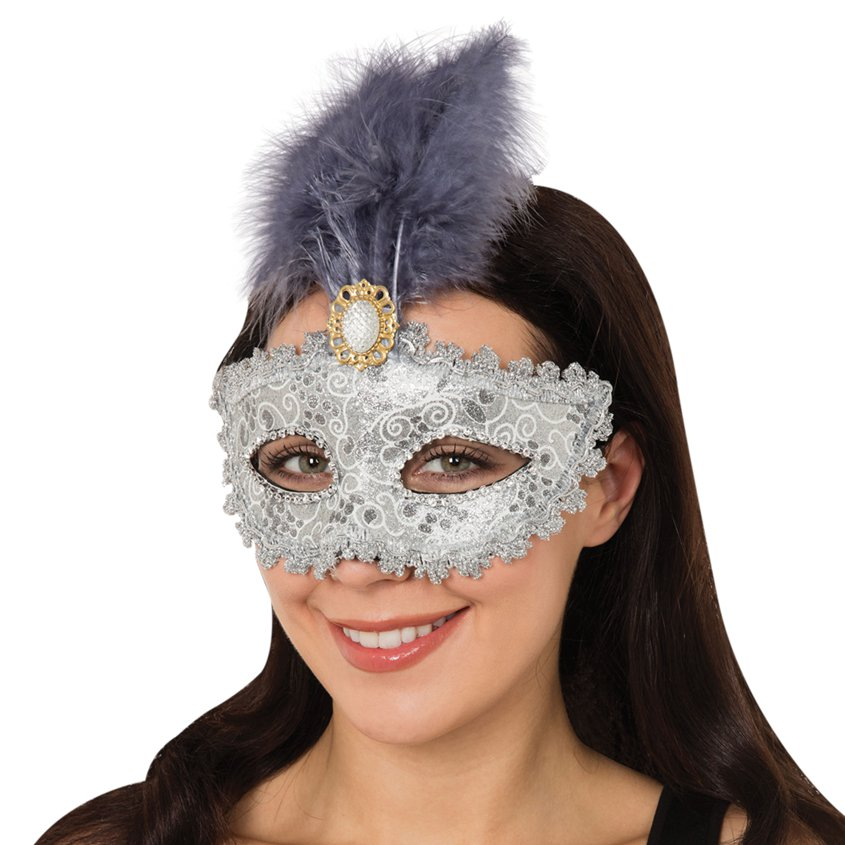ACCESSORIES/EYEMASKS&MASQUERADE/SILVER MASK WITH TALL FEATHER AND GEM