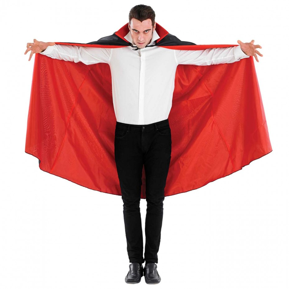 MENS/HALLOWEEN/LONG BLACK VAMPIRE CAPE COSTUME
