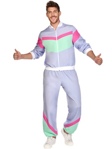 MENS/DECADES/ Purple 80s Shell Suit - Adult Costume
