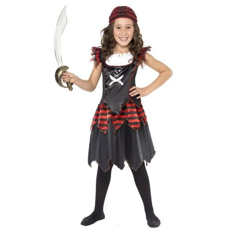 GIRLS/PIRATES/ Pirate Skull & Crossbones Girl Costume, Black