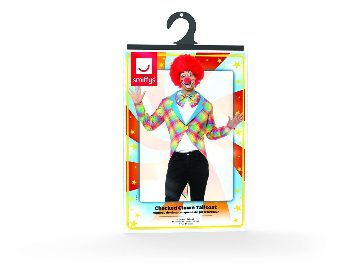 MENS/CLOWN & CIRCUS/ Checked Clown Tailcoat, Multi-Coloured