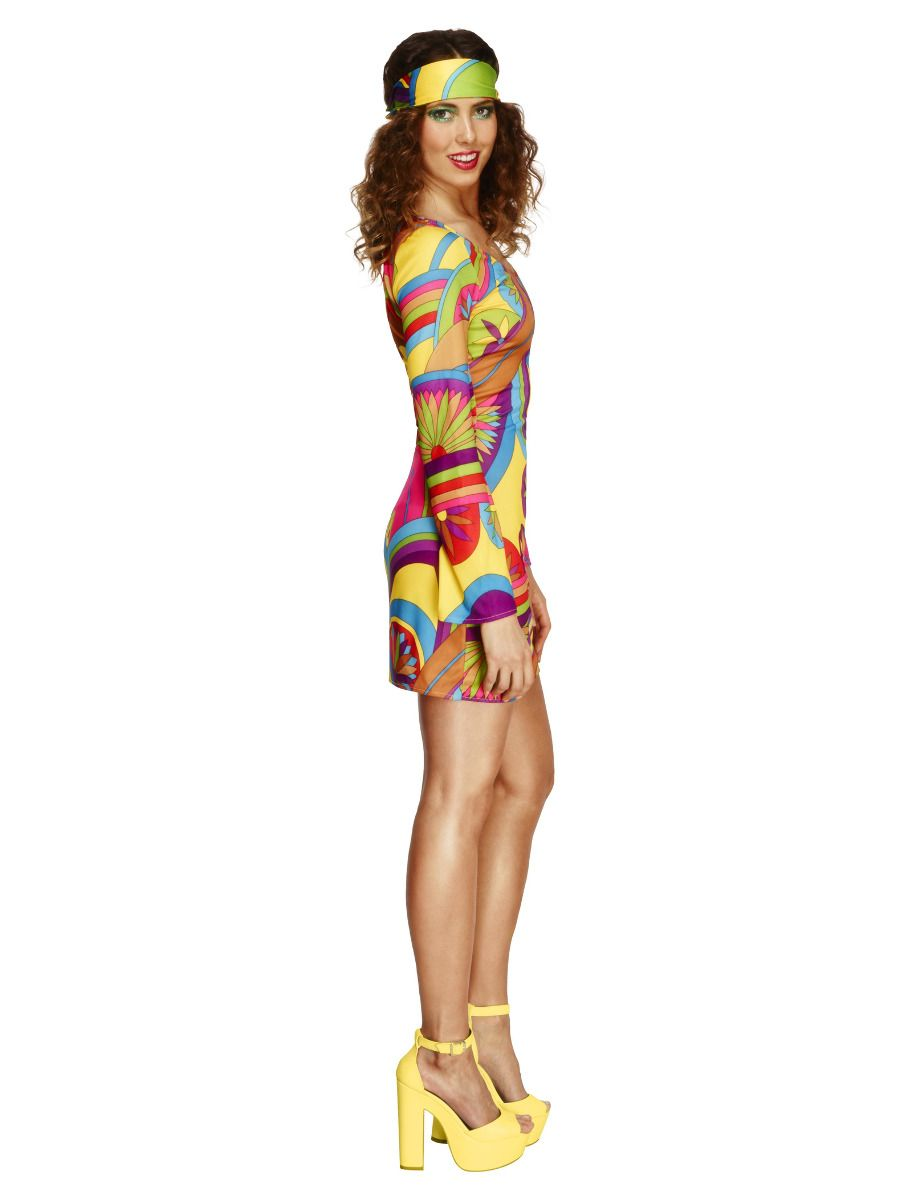 WOMAN/DECADES/1970'S/Fever 70s Flower Power Costume, Multi-Coloured