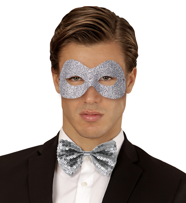 ACCESSORIES/EYE MASK & MASQUERADE/GLITTER FIDELIO EYEMASK (silver/gold)