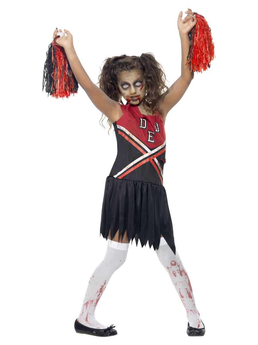 GIRLS/HALLOWEEN/Zombie Cheerleader Costume, Red & Black