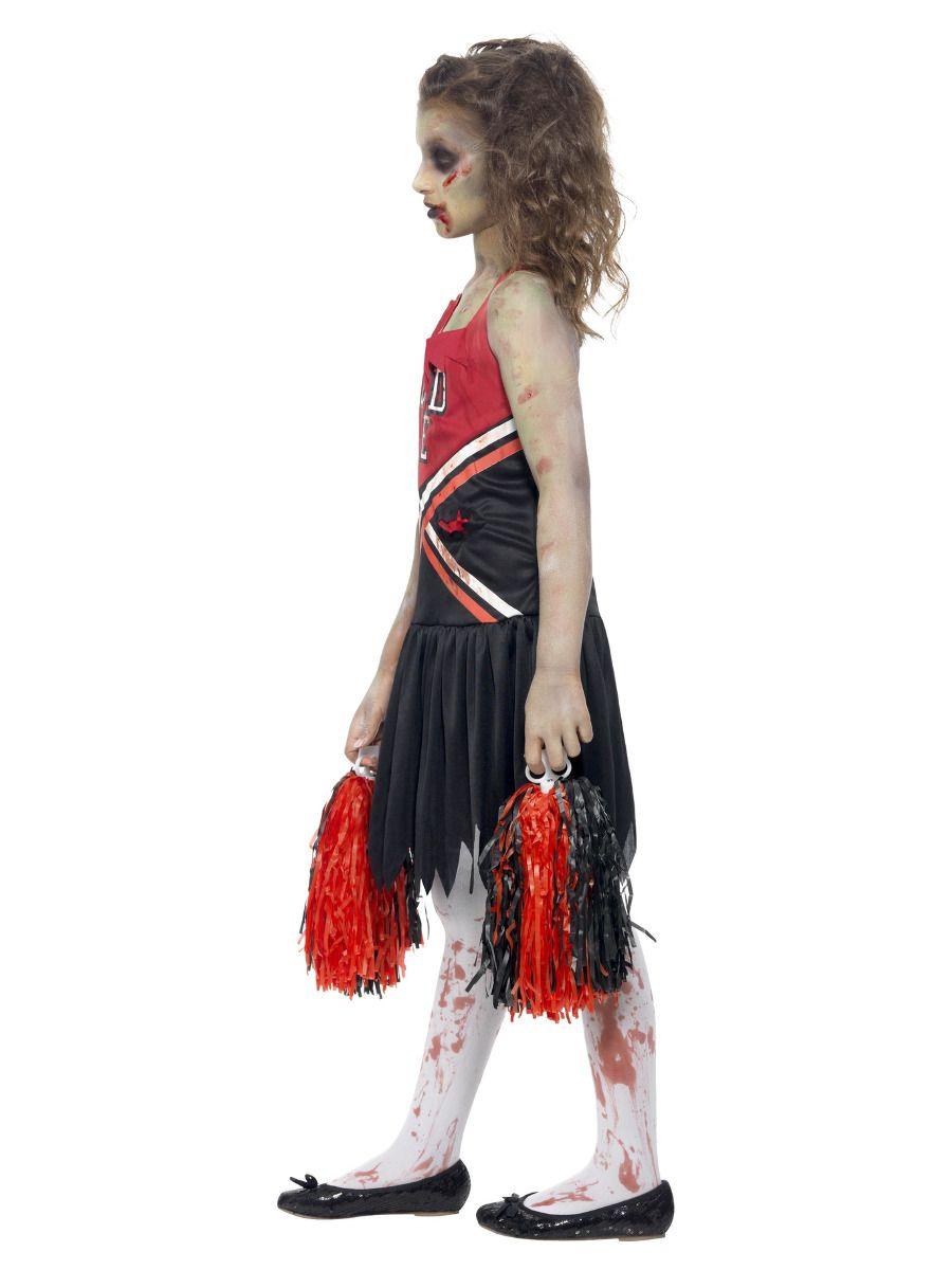 GIRLS/HALLOWEEN&HORROR/Zombie Cheerleader Costume, Red & Black