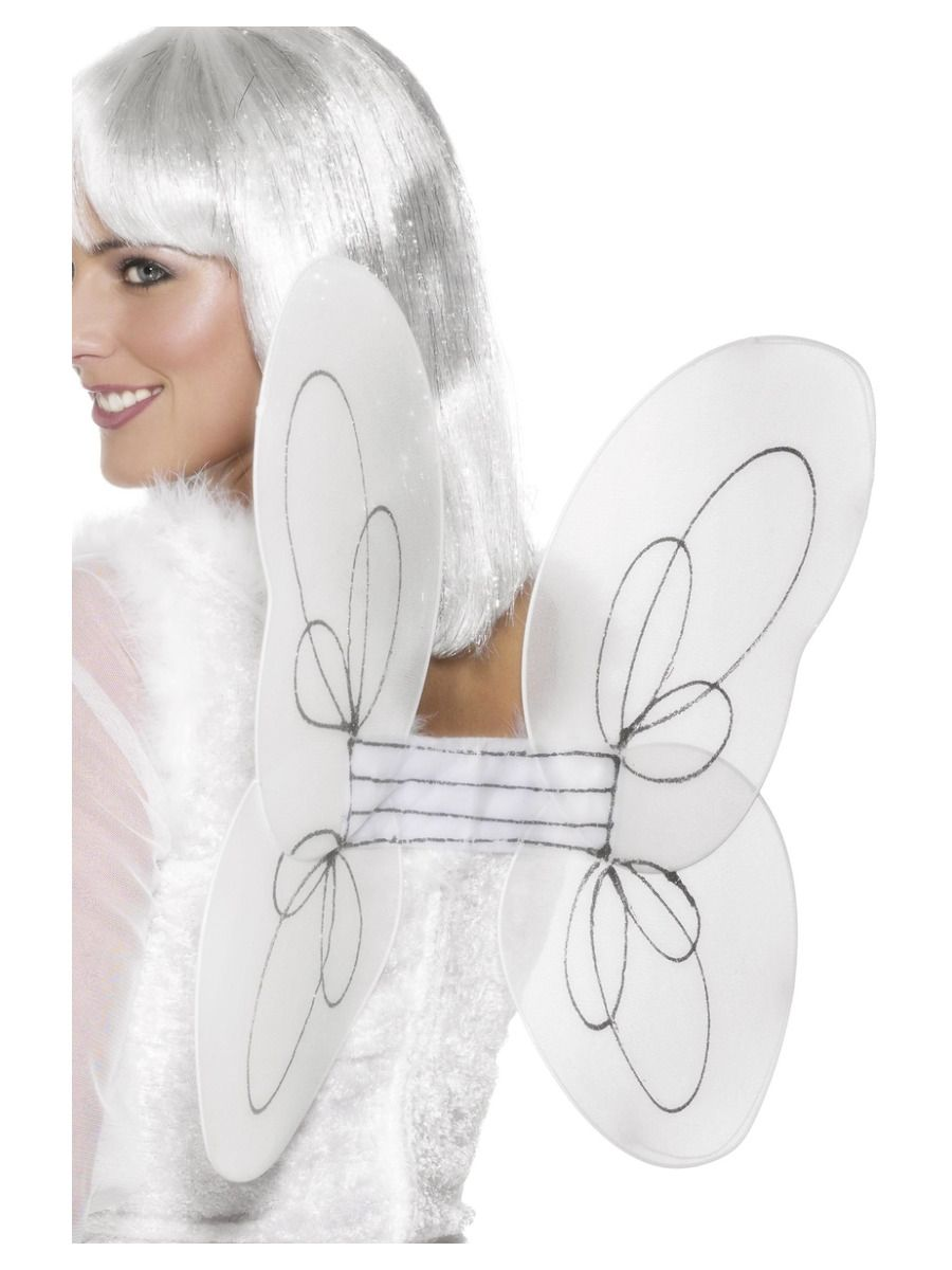 ACCESSORIES/CHRISTMAS/Angel Glitter Wings, White & Silver