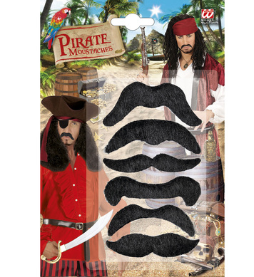 ACCESSORIES/BEARDS & MOUSTACHES/SET OF 6 PIRATE MOUSTACHES