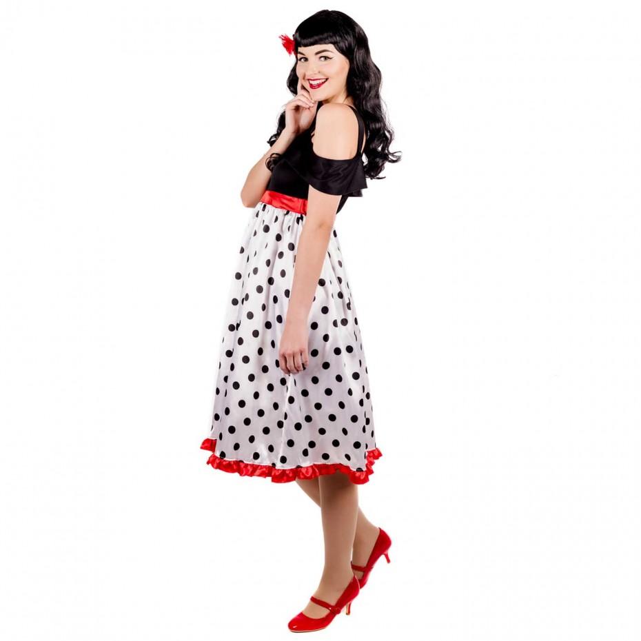 WOMAN/DECADES/1950'S/Adult Dress & Hair Clip