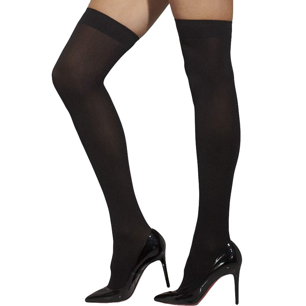 ACCESSORIES/TIGHTS & STOCKINGS/Opaque Hold-Ups, Black