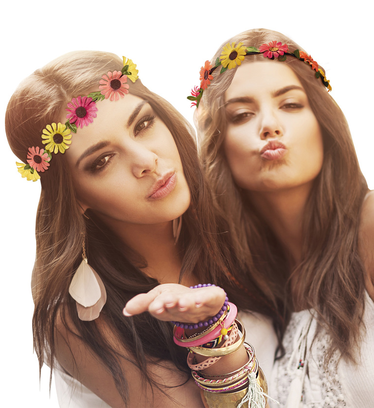ACCESSORIES/HATS & HEADANDS/MULTICOLOR DAISY FLOWER DIADEM - WITH ELASTIC