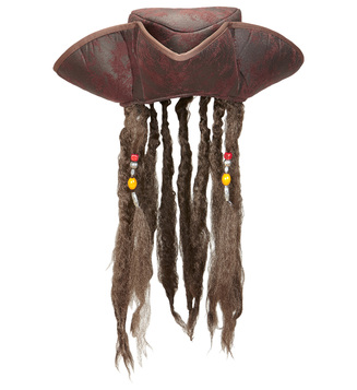 ACCESSORIES/HATS & HEADBANDS/LEATHER LOOK PIRATE TRICORN WITH DREADLOCKS