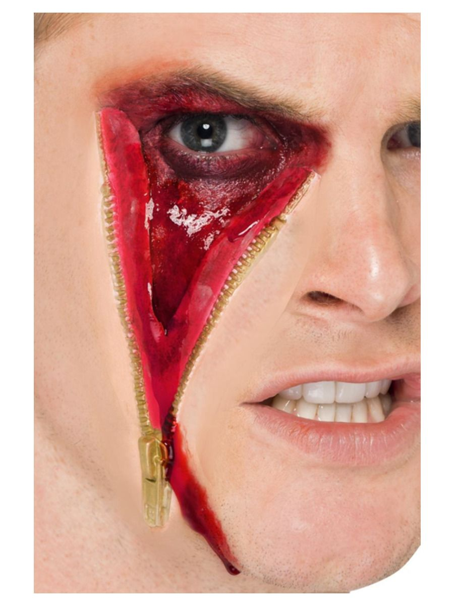 MAKEUP/SCARS & WOUNDS/Smiffys Make-Up FX, Zip Face Latex Scar, Flesh