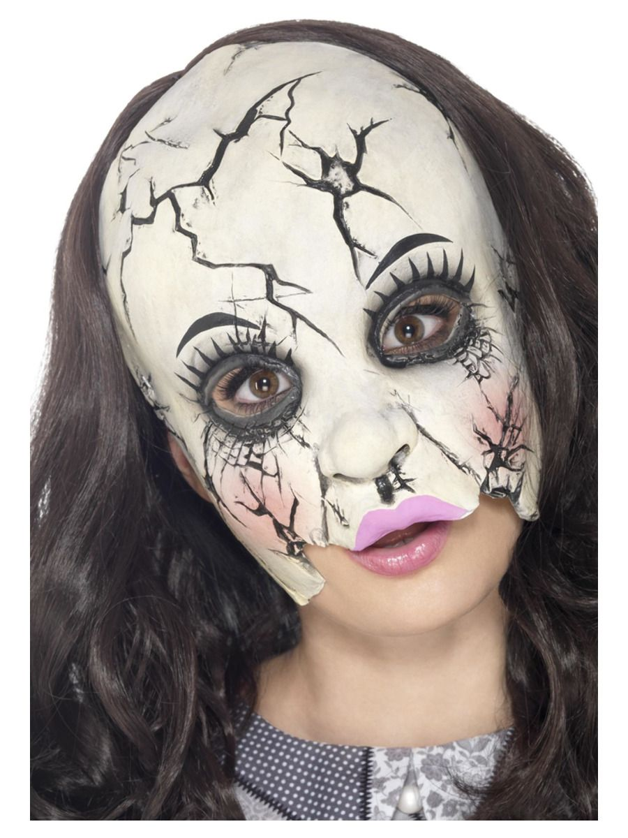 ACCESSORIES/HALLOWEEN/MASKS/Damaged Doll Mask, Multi-Coloured