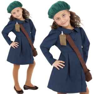 GIRLS/HISTORY/World War II Evacuee Girl Costume, Blue