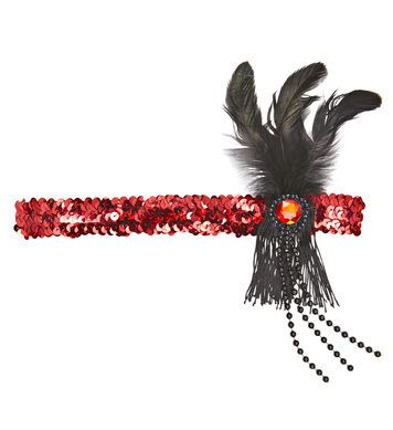 ACCESSORIES/HATS&HEADBANDS/1920S RED SEQUIN HEADBAND WITH FEATHER & PEARLS