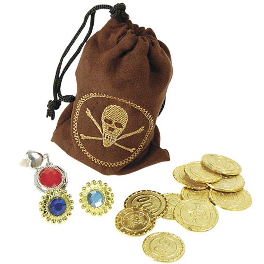 ACCESSORIES/PROPS/PIRATE POUCH WITH COINS AND JEWELRY
