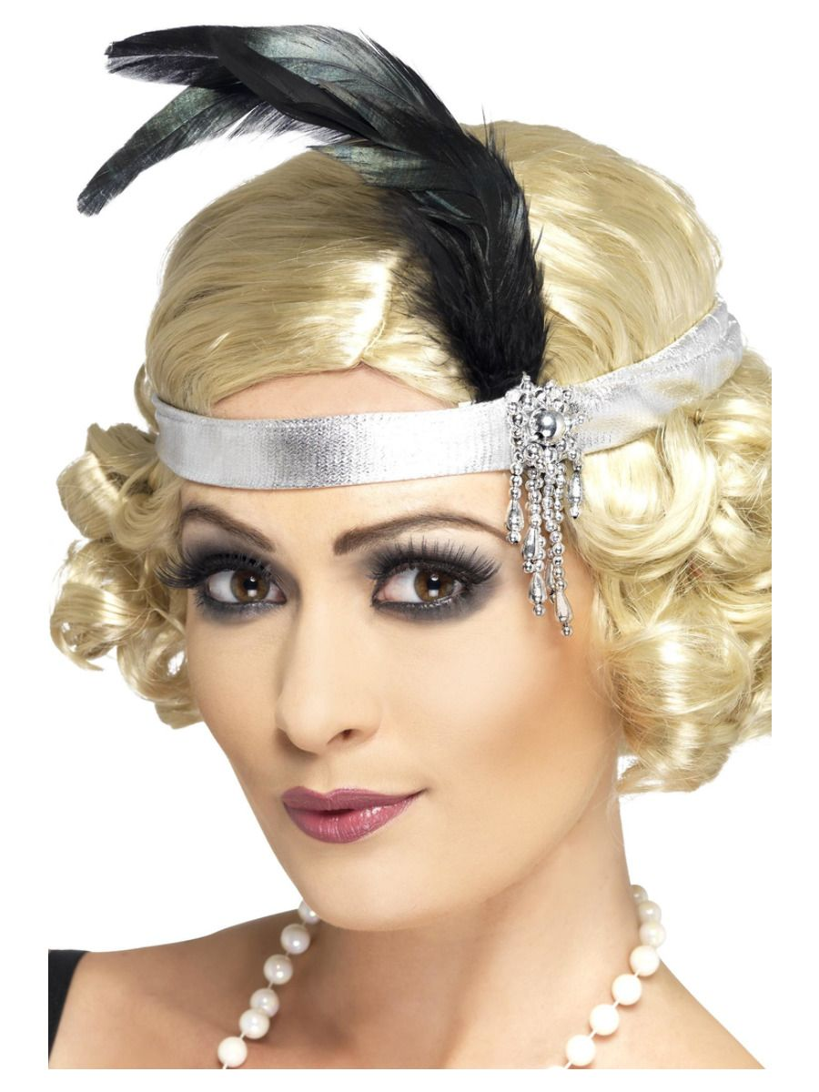 ACCESSORIES/HATS&HEADBANDS/1920S Silver Satin Charleston Headband