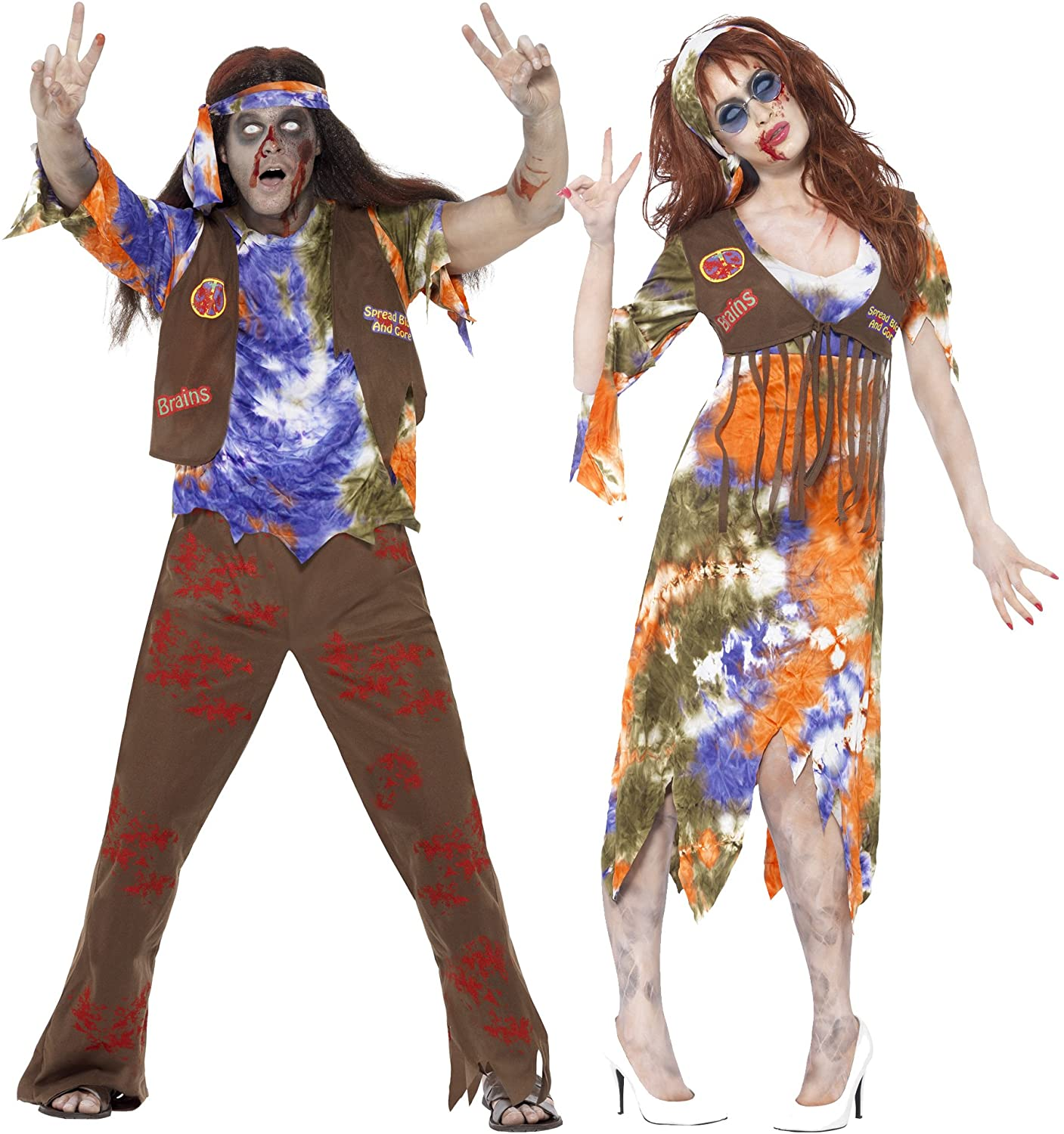 MENS/HALLOWEEN/ Zombie 60s Hippie Costume, Multi-Coloured